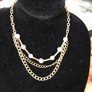 Gold necklace w/ gray beads